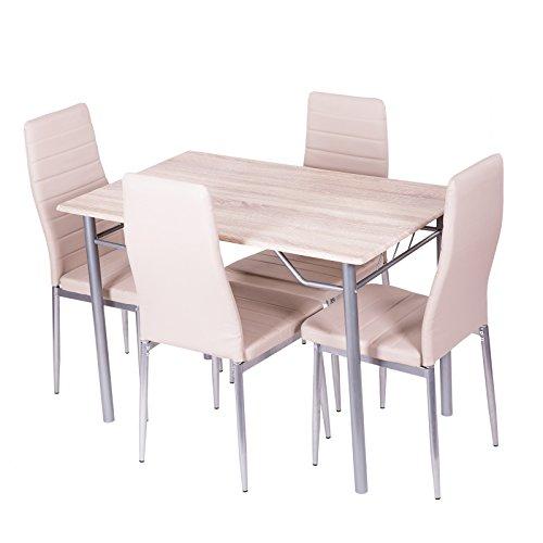 Esstischgruppe-Sitzgruppe-beige-mit-4-Sthlen-und-Esstisch-110x70-cm
