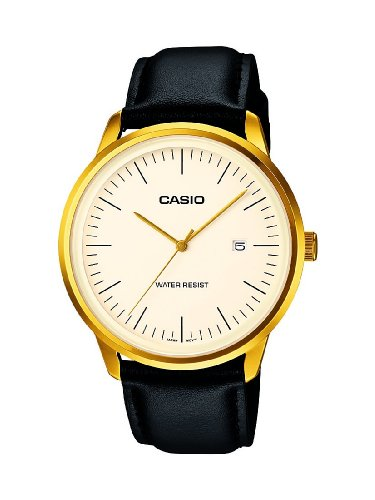 CASIO Collection Unisex Quartz Watch with White Analogue Display and Black Leather Strap MTP-1349GL-7BEF