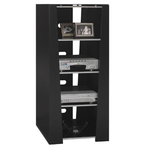 Buy Low Price Bush Denali Black Entertainment Audio Tower Rack Cabinet  (AD97840 03)