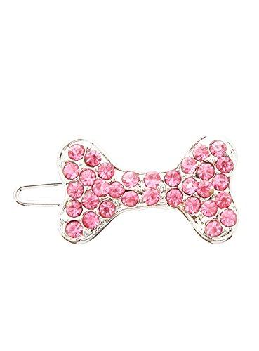UrbanPup Swarovski Bone Hair Clip / Dog Barrette (Pink Crystals) (Swarovski Crystal Dog Hair Clips compare prices)