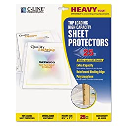 High Capacity Polypropylene Sheet Protectors, Clear, 11 x 8 1/2, 25/BX, Sold as 1 Box, 25 Each per Box