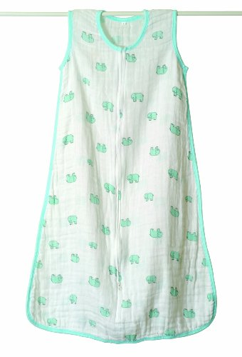 aden + anais Slumber Muslin Sleeping Bag Single Layer, Jungle Jam - Elephant, X-Large