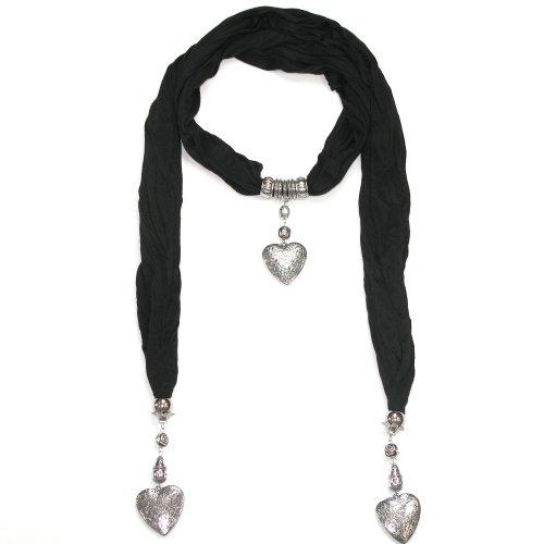 Women's Beautiful Jewellery Black Scarf  Heart