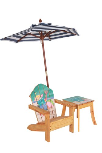 Teamson Kids Outdoor Table and Chair Set (with Umbrella) Sand Pail Design