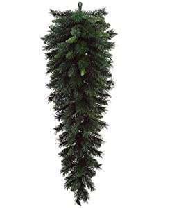 "60"" Large Artificial Green Pine Christmas Teardrop Swag - Unlit"