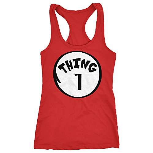 [Thing 1 Women's Racerback Funny Halloween Costume Xmas Humor 2 3 4 Sleeveless Red Small] (Thing 1 Thing 2 Halloween Costumes)