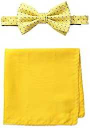 Steve Harvey Men\'s Neat Woven Bowtie and Solid Pocket Square, Yellow, One Size