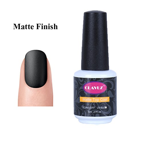 CLAVUZ Matte Top Coat Gel Nail Polish Matte Finish No Wipe Non-Cleansing Long Lasting Soak Off UV LED Nail Art DIY at Home 8ml (White Nail Polish Set compare prices)