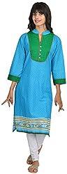 Goodyygoods Women's Cotton Regular Fit Kurti (GG 42, Blue, X-Large)