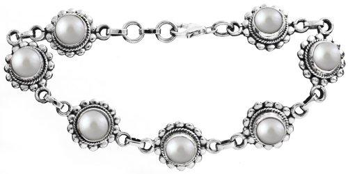 Sterling Bracelet with Gems - Sterling Silver - Color Pearl