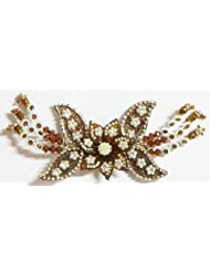 White Stone Studded Brown Acrylic Flower Head Piece With Beads - Acrylic