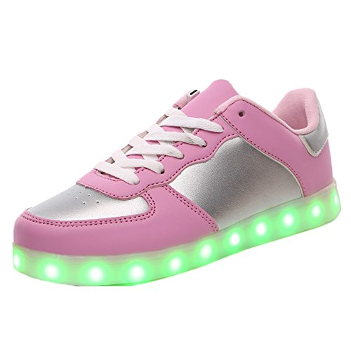 KaLeido Unisex USB Charging 7 Colors LED Sport Shoes Flashing Fashion Sneakers Light Up Sport Shoes (10.5 B(M) US Women/7.5 D(M) US Men, Pink)