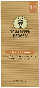 Scharffen Berger Chocolate Bar, Milk Almond (Milk Chocolate & Sea Salted Almonds) (41% Cacao), 3-Ounce Bars (Pack of 6)