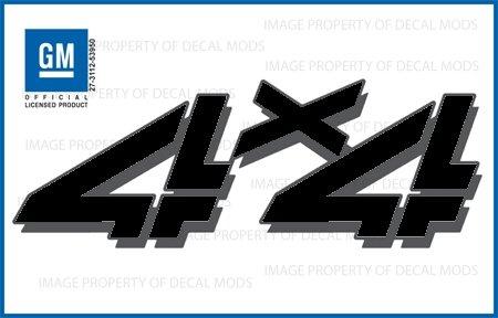 GMC Sierra 4×4 Black Blackout decals stickers – FBLK (1999 – 2006) bed side 1500 2500 HD (set of 2)