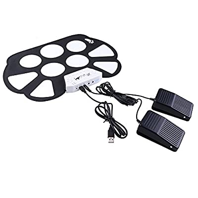 AGPtek Portable Mini USB Interface Kids Roll up Electronic Digital Drum Pad Kit with Drum Stick Foot Switch Pedal, Output to Headset/Hifi/Music Speaker/iPhone