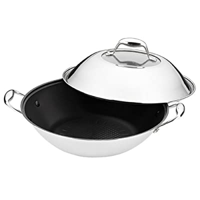 BergHOFF Stainless Steel 5-Quart Covered Wok, Non-Stick Surface