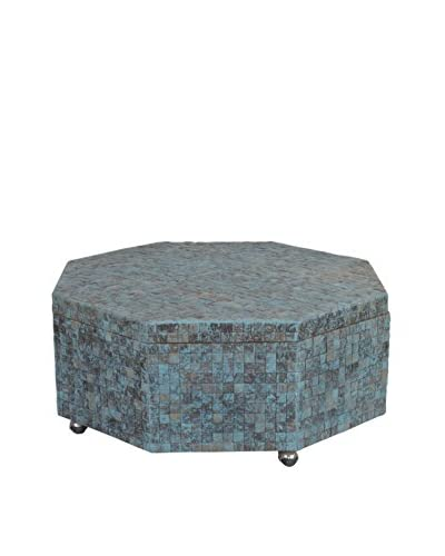 Jeffan New Hampton Octagon Coffee Table With Storage, Ocean Blue