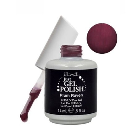 Ibd Just Gel Plum Raven Soak Off Dark Red Nail Polish Uv Manicure .5Oz Salon Led