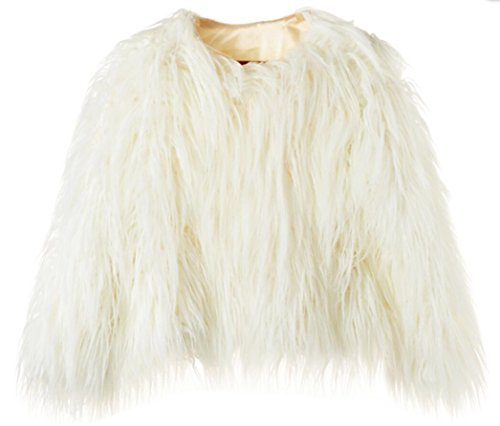 Erencook Women's Shaggy Faux Fur Coat Jacket (L=US 6, White) (Sexy Fur Coat)