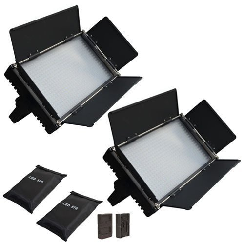 Iled 576 Bi-Color Led Studio Panel 2-Light Kit With Lcd Touch Screen And V-Mount Plate + Battery Converter Adapter + Softbox