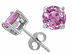 Tommaso Design 5mm Round Genuine Pink Sapphire Earrings Studs