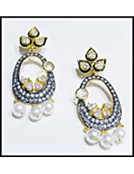 E-designs Rhodium / Gold Plated Earring With CZ Stone Alongwith Colour Stones Studded For Women - B00HSI859K