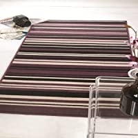 Element Canterbury Purple/Black Stripes Design Oblong Rug 120X160 from Flair Rugs