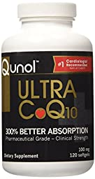 Qunol Ultra CoQ10 - 100% Soluble Coq10 100mg - 3X Better Absorption Coenzyme Q10 - 120 Softgels (4 Month Supply)