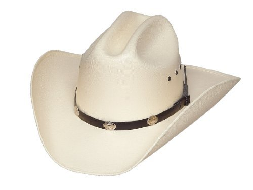 Classic Cattleman Straw Cowboy Hat with Silver Conchos White 7.125