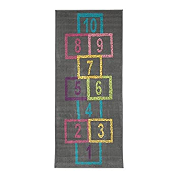 Ottomanson Childrens Garden Collection Grey Background Hopscotch Street Chalk Design 27