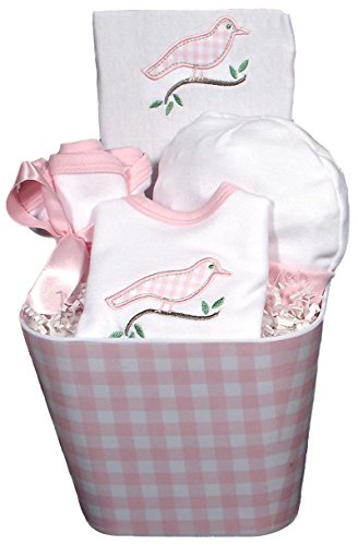 Raindrops Baby Accessory Gingham Bird Set, Pink - 1