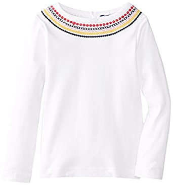 Hartstrings Little Girls' Cotton Long Sleeve Embroidered Tee, White, 2T
