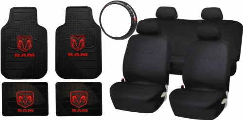 13Pc Dodge Ram Factory Style Black Rubber Floor Mats Steering Wheel Classic Black Seat Covers front-74884