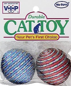 Vo-Toys Glitter Rope Balls 2 pack Cat Toy