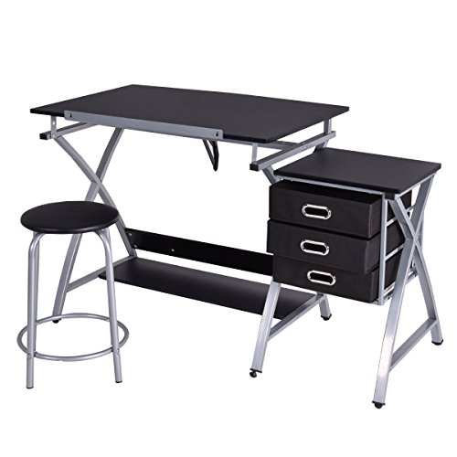 Tangkula Drafting Table Art & Craft Drawing Desk Art Hobby Folding Adjustable w/ Stool (Black) (Drafting Storage compare prices)