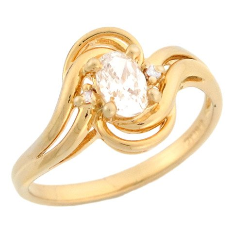 10k Yellow Gold Oval CZ Fancy Twist Engagement Ring With Round Accents