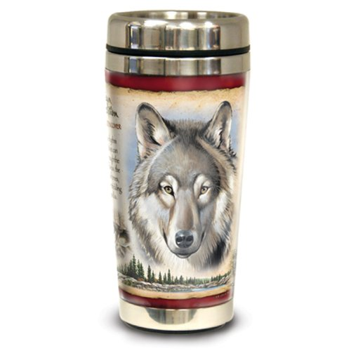 Animal Travel Mug - American Expedition Wildlife Steel Travel Mug (Gray Wolf)