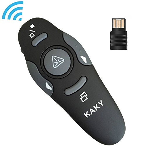 KAKY 2.4 GHz USB Wireless Presenter - Remote Control Laser Flip Pen - RF PowerPoint PPT Controller Presentation Pen Perfect for Meeting, Teaching, Speech (Black)