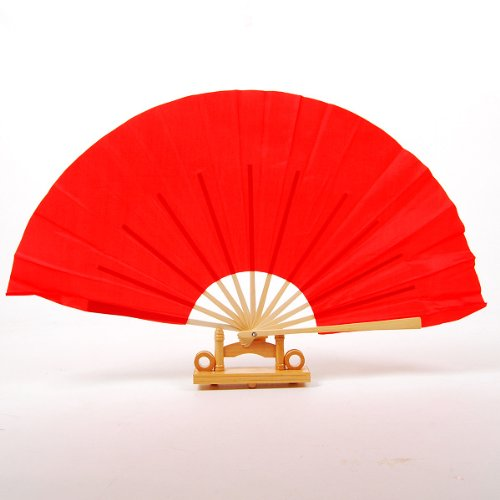 Dealinfinite Chinese Fabric Wooden Folding Hand Kung Fu Fan Red