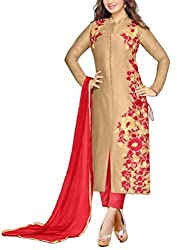 Angroop Women's Cotton Semi-Stitched Dress Material (WA0029_Free Size_Beige)
