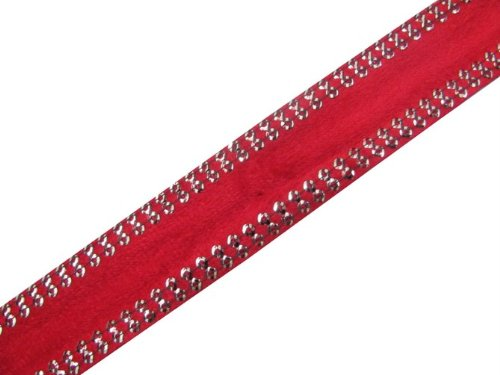 4.5 Y Red Velvet Border Sequin Ribbon Trim Sewing Craft