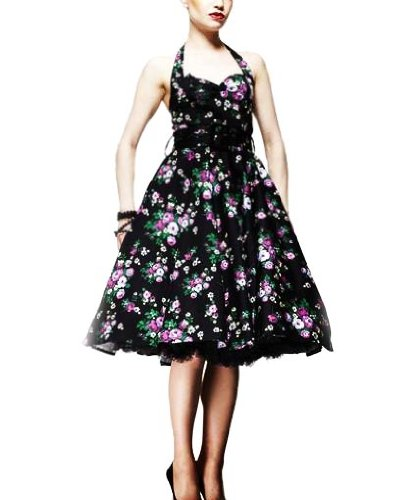 HELL BUNNY Swing DRESS MAY DAY Flower 50s BLACK