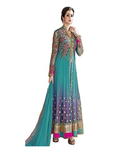 ZHot Fashion Women's Net Unstitched Salwar Suit (ZHBL1001_Blue_Anarkali Suit)