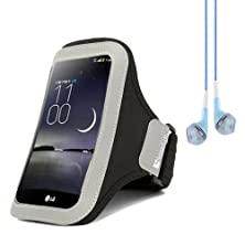 buy Sumaclife Running Sports Jogging Armband Case Pouch For Lg G Flex / Lg Optimus G Pro E980 F240K (Black) + Blue Vangoddy Headphones With Mic