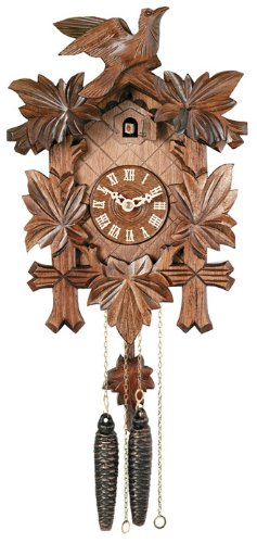 River City Clocks 11-13 One Day Hand-Carved Cuckoo Clock with Five Maple Leaves And One Bird, 13-Inch Tall
