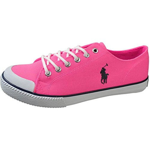 Polo Ralph Lauren Kids Womens Chandler (Youth) Neon Pink Canvas Lace Up Casual 7 Big Kid M