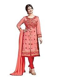 Peach colour embroidered chanderi fabric semi stich churidar dress material