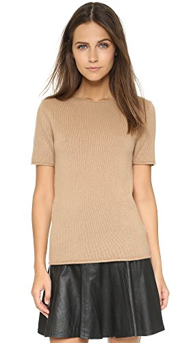 Theory Women's Cashmere Tolleree Short Sleeve Sweater, Camel, Small