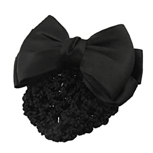 uxcell Black Bowtie Adorn Snood Net Barrette Hair Clip Hairpin Bun Cover