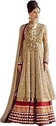 Rozdeal Women's Net Anarkali Suit Dress Material (RDHP142-1010_Cream)